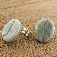 Jade stud earrings, 'Passion for Coffee' - Coffee-Shaped Light Green Jade Stud Earrings from Guatemala