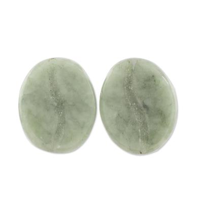 Jade stud earrings, 'Passion for Coffee' - Coffee-Shaped Light Green Jade Stud Earrings from Guatemala