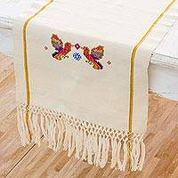 Cotton table runner, 'Rainbow Birds' - Handwoven Bird-Themed Cotton Table Runner from Guatemala