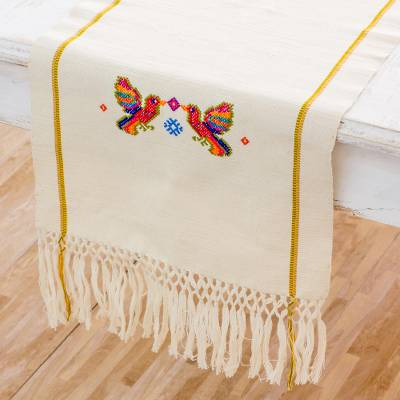 Cotton Table Runner, U0027Rainbow Birdsu0027   Handwoven Bird Themed Cotton Table  Runner