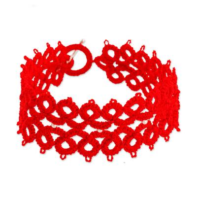 Hand-Tatted Wristband Bracelet in Poppy from Guatemala