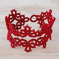 Wristband bracelet, 'Elegant Flowers in Cherry' - Hand-Tatted Wristband Bracelet in Cherry from Guatemala