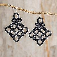 Dangle earrings, 'Artful Elegance' - Hand-Tatted Dangle Earrings in Black from Guatemala