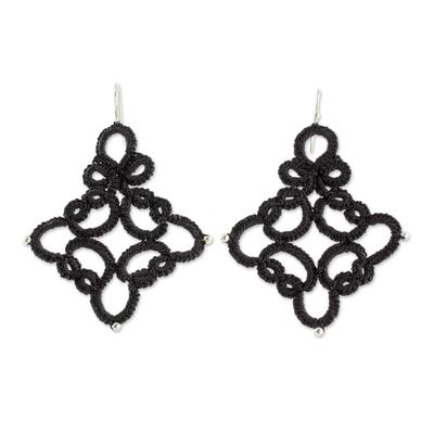 Hand-Tatted Dangle Earrings in Black from Guatemala