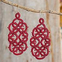 Dangle earrings, 'Fleeting Life' - Hand-Tatted Dangle Earrings in Cherry from Guatemala