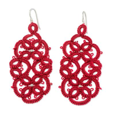 Hand-Tatted Dangle Earrings in Cherry from Guatemala