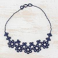 Pendant necklace, 'Nostalgic Flowers' - Hand-Tatted Pendant Necklace in Navy from Guatemala