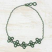 Pendant necklace, 'Marvelous Bouquet' - Hand-Tatted Pendant Necklace in Viridian from Guatemala