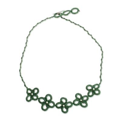 Hand-Tatted Pendant Necklace in Viridian from Guatemala