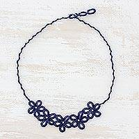 Pendant necklace, 'Navy Flowers' - Hand-Tatted Pendant Necklace in Navy from Guatemala