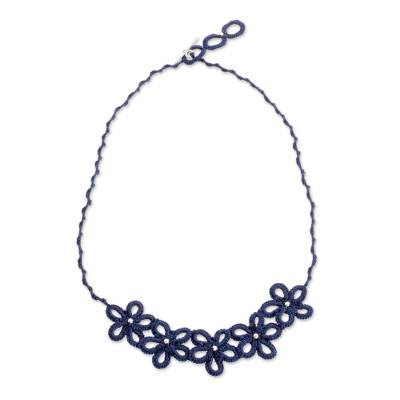 Hand-Tatted Pendant Necklace in Navy from Guatemala