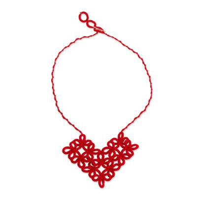 Hand-Tatted Floral Necklace in Poppy from Guatemala