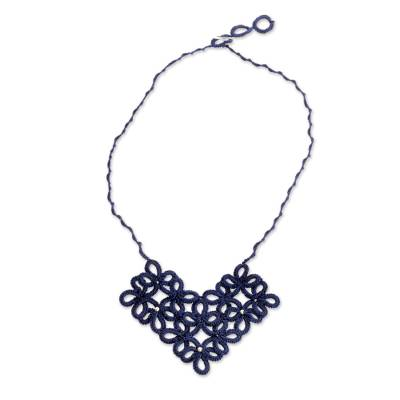 Hand-Tatted Floral Necklace in Navy from Guatemala
