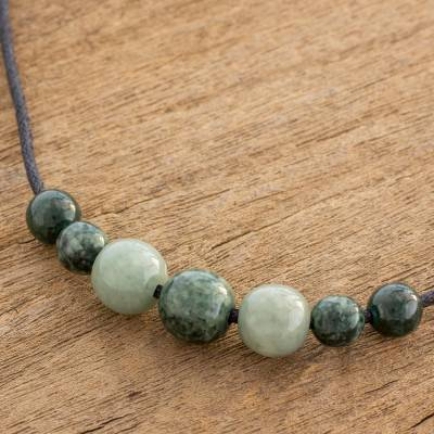 Jade pendant necklace, 'Traditional Virtue' - Natural Jade Beaded Pendant Necklace from Guatemala