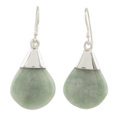 Jade dangle earrings, 'Mayan Raindrops' - Teardrop Jade and Sterling Silver Earrings form Guatemala