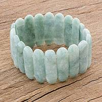 Jade beaded stretch bracelet, 'Plentiful Beauty' - Light Green Jade Beaded Stretch Bracelet from Guatemala