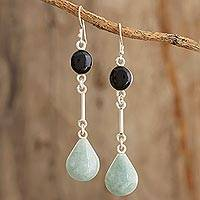 Jade dangle earrings, 'Lovely Beauty'