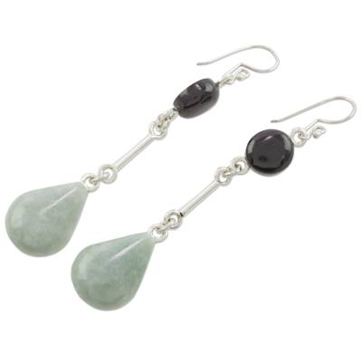 Jade dangle earrings, 'Lovely Beauty' - Two-Tone Jade and Sterling Silver Earrings from Guatemala