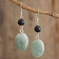 Jade dangle earrings, 'Virtuous Beauty' - Black and Green Jade Dangle Earrings from Guatemala