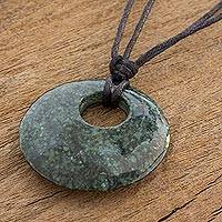 Jade pendant necklace, 'Mayan Strength' - Dark Green Circular Jade Pendant Necklace from Guatemala
