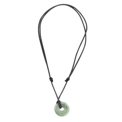 Jade pendant necklace, 'Mayan Circle of Love' - Light Green Circular Jade Pendant Necklace from Guatemala