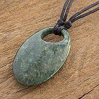Jade pendant necklace, 'Mayan Ellipse' - Adjustable Jade Pendant Necklace from Guatemala