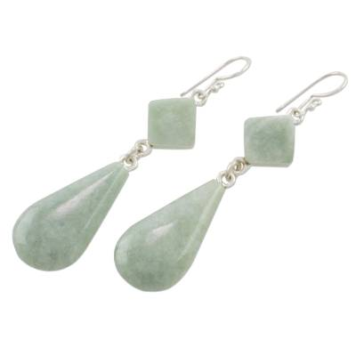 Jade dangle earrings, 'Apple Green Drops' - Light Green Jade Dangle Earrings Crafted in Guatemala