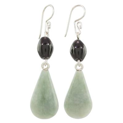 Jade dangle earrings, 'Style of the Maya' - Jade and Silver Dangle Earrings Crafted in Guatemala