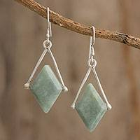 Jade dangle earrings, 'Vibrant Rhombi' - Rhombus-Shaped Jade Dangle Earrings from Guatemala