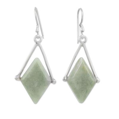 Jade dangle earrings, 'Vibrant Rhombi' - Rhombus-Shaped Jade Dangle Earrings from Guatemala