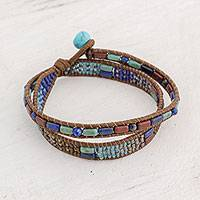 Glass beaded wrap bracelet, 'Xocomil Winds' - Handcrafted Glass Beaded Wrap Bracelet from Guatemala