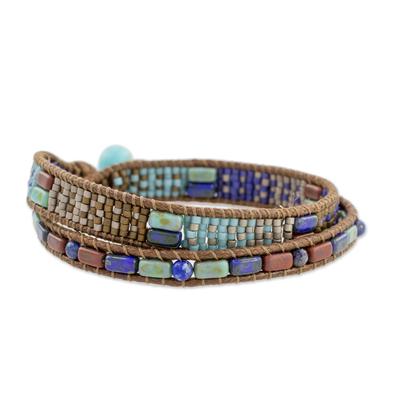 Glass beaded wrap bracelet, 'Xocomil Winds' - Handcrafted Glass Beaded Wrap Bracelet from Guatemala