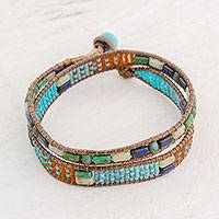 Glass beaded wrap bracelet, 'Winds of Atitlan' - Colorful Glass Beaded Wrap Bracelet from Guatemala