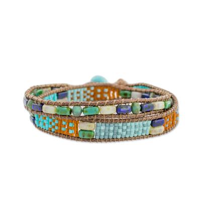 Glass beaded wrap bracelet, 'Winds of Atitlan' - Colorful Glass Beaded Wrap Bracelet from Guatemala