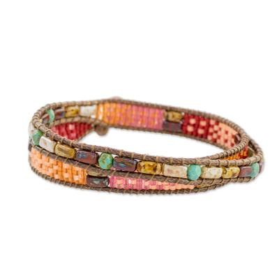 Glass beaded wrap bracelet, 'Xocomil Energy' - Handmade Aventurine and Glass Wrap Bracelet from Guatemala