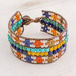 Lapis lazuli beaded wristband bracelet, 'Traditions of My Country' - Colorful Glass Wristband Bracelet from Guatemala