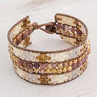Glass beaded wristband bracelet, 'Customs of My Country' - Glass Wristband Bracelet in Beige and Brown from Guatemala