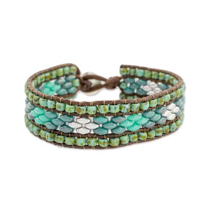 Glass beaded wristband bracelet, 'Cobbled Streets' - Glass Beaded Bracelet with Diamond Motifs from Guatemala