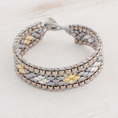 Glass beaded wristband bracelet, 'Cobbled Roads' - Diamond-Motif Glass Beaded Bracelet from Guatemala