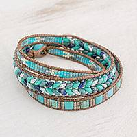 Glass beaded wrap bracelet, 'Lines of Hope' - Handmade Glass Beaded Wrap Bracelet in Blue from Guatemala