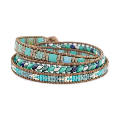 Glass beaded wrap bracelet, 'Lines of Hope' - Handmade Glass Beaded Wrap Bracelet in Blue from Guatemala