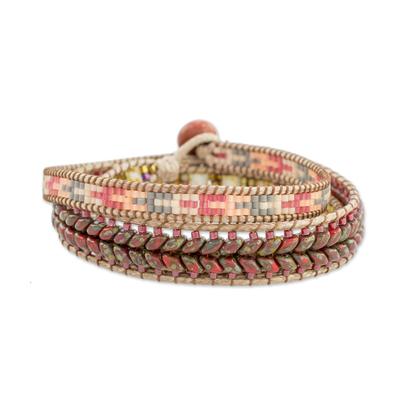 Glass beaded wrap bracelet, 'Country Land' - Handcrafted Glass Beaded Wrap Bracelet from Guatemala