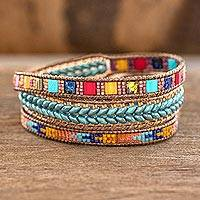 Glass beaded wrap bracelet, 'Country Market'