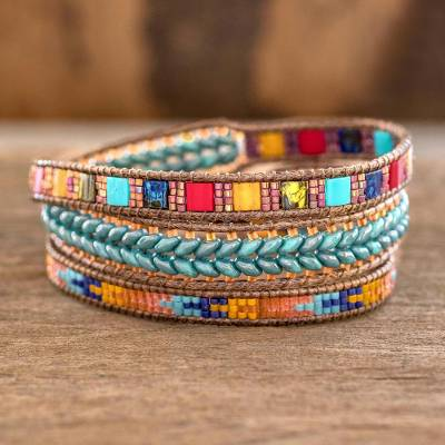 Glass beaded wrap bracelet, 'Colors of Hope' - Multicolored Glass Beaded Wrap Bracelet from Guatemala