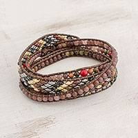 Unakite and glass beaded wrap bracelet, 'Atitlan Beauty'