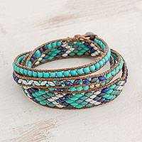 Glass beaded wrap bracelet, 'Atitlan Grace' - Glass Beaded Wrap Bracelet in Turquoise from Guatemala
