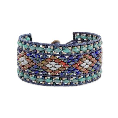 Handmade Diamond Motif Glass Beaded Wristband Bracelet