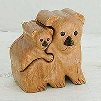 Wood decorative box, 'Koala Love' - Handcrafted Koala Wood Decorative Box from Guatemala