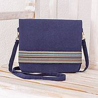 Cotton messenger bag, 'Horizon Stripes in Navy' - Handwoven Messenger Bag in Navy from Guatemala