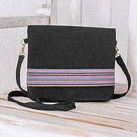 Cotton messenger bag, 'Horizon Stripes in Black' - Striped Cotton Messenger Bag in Black from Guatemala